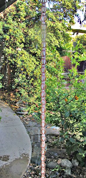 Gorgeous Copper Triple Loop Rain Chain Links for a Gutter Alternative