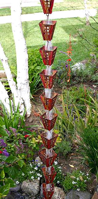 Add style to your gutter downspout with our decorative rain chains by Garden Gnomes Etc