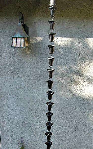 Beautiful Black Powder Coated Aluminum Rain Chain Cups