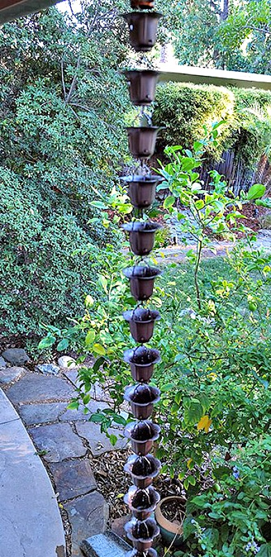 Beautiful Rain Chain Downspouts by Garden Gnomes Etc
