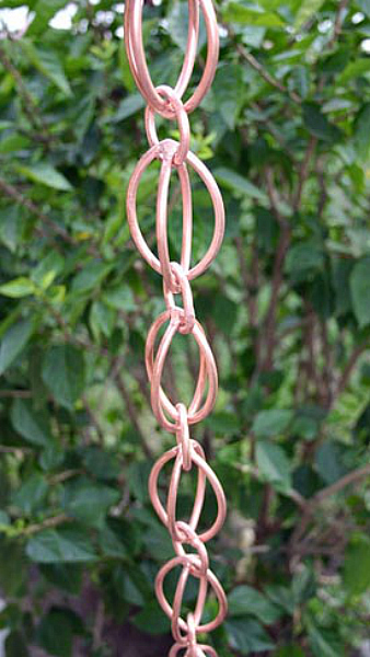 Rain Chain Links Excellent Copper Artwork for the Garden Landscape