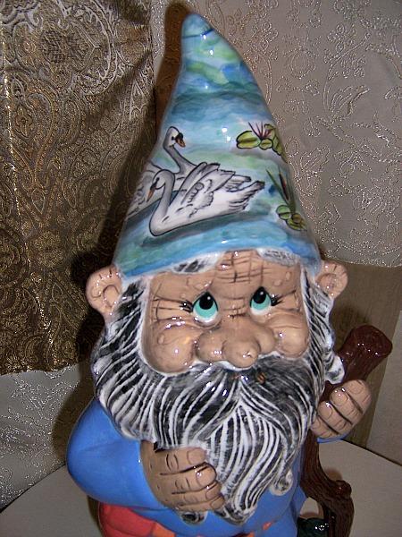 Custom Gnome Papa Bertie Pond Scene Gloss Glaze Face