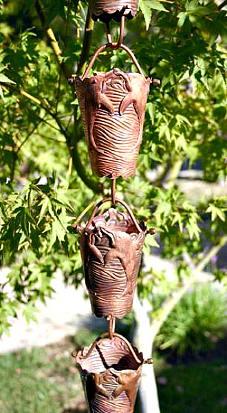 Decorative Copper Rain Chains by Garden Gnomes Etc