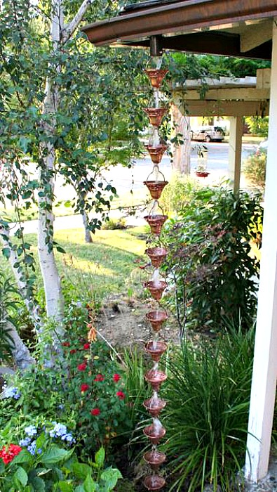 Copper rain chain beautiful landscaping ideas