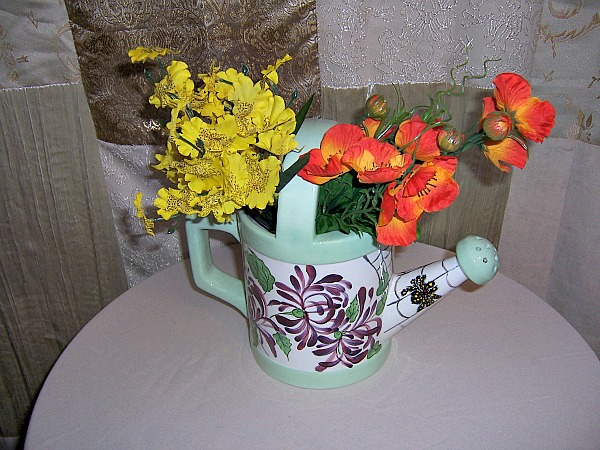 Gnome Custom Watering Can Planter Vase Gloss Glaze Flowers