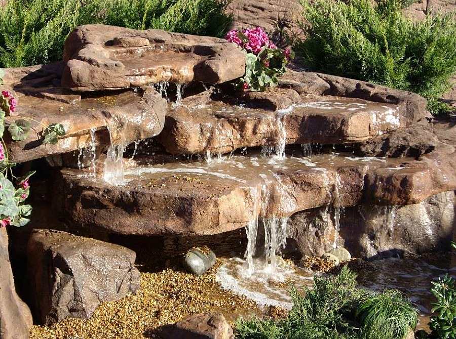 Beautiful cascade waterfall rocks by Garden Gnomes Etc