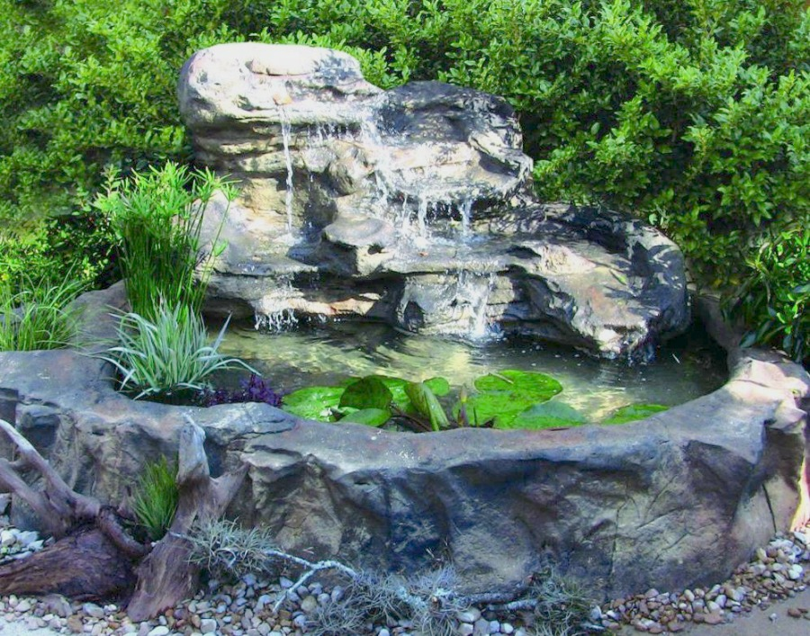 Large universal rock patio pond garden pond waterfalls kits for Pond waterfall kit