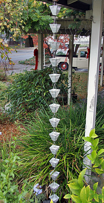 Beautiful Inexpensive and Discount Aluminum Rain Chain Cups by Garden Gnomes Etc