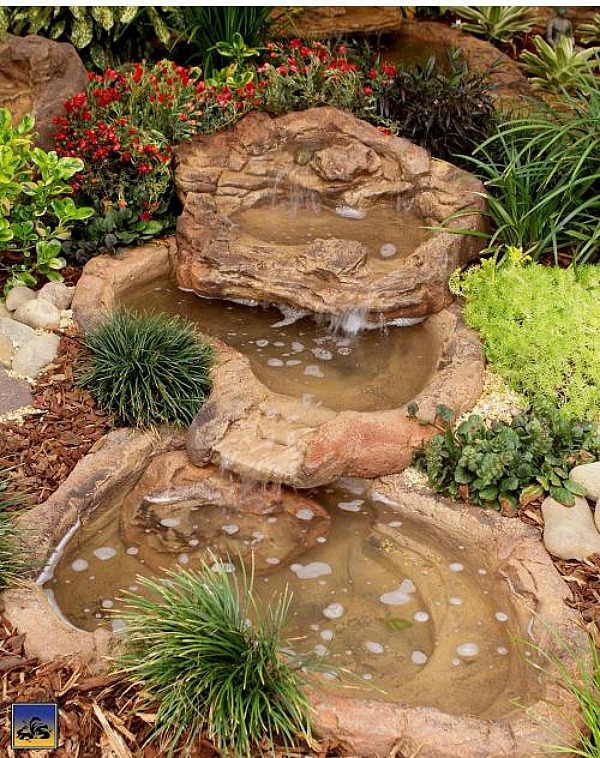 Small backyard waterfall cascade rock pond artificial for Artificial water pond