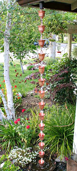 Add a decorative touch to your gutter downspout with our beautiful copper rain chain cups