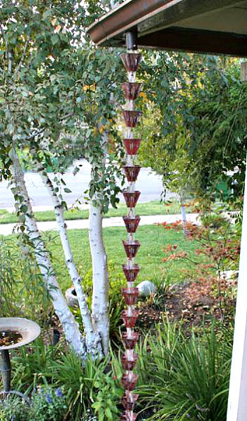 Add a little copper art to your garden with our rain chain cups