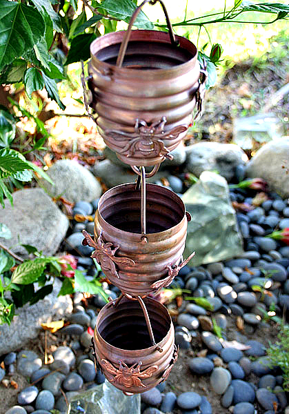 Gorgeous Copper Rain Cups for Excellent Gutter Alternatives